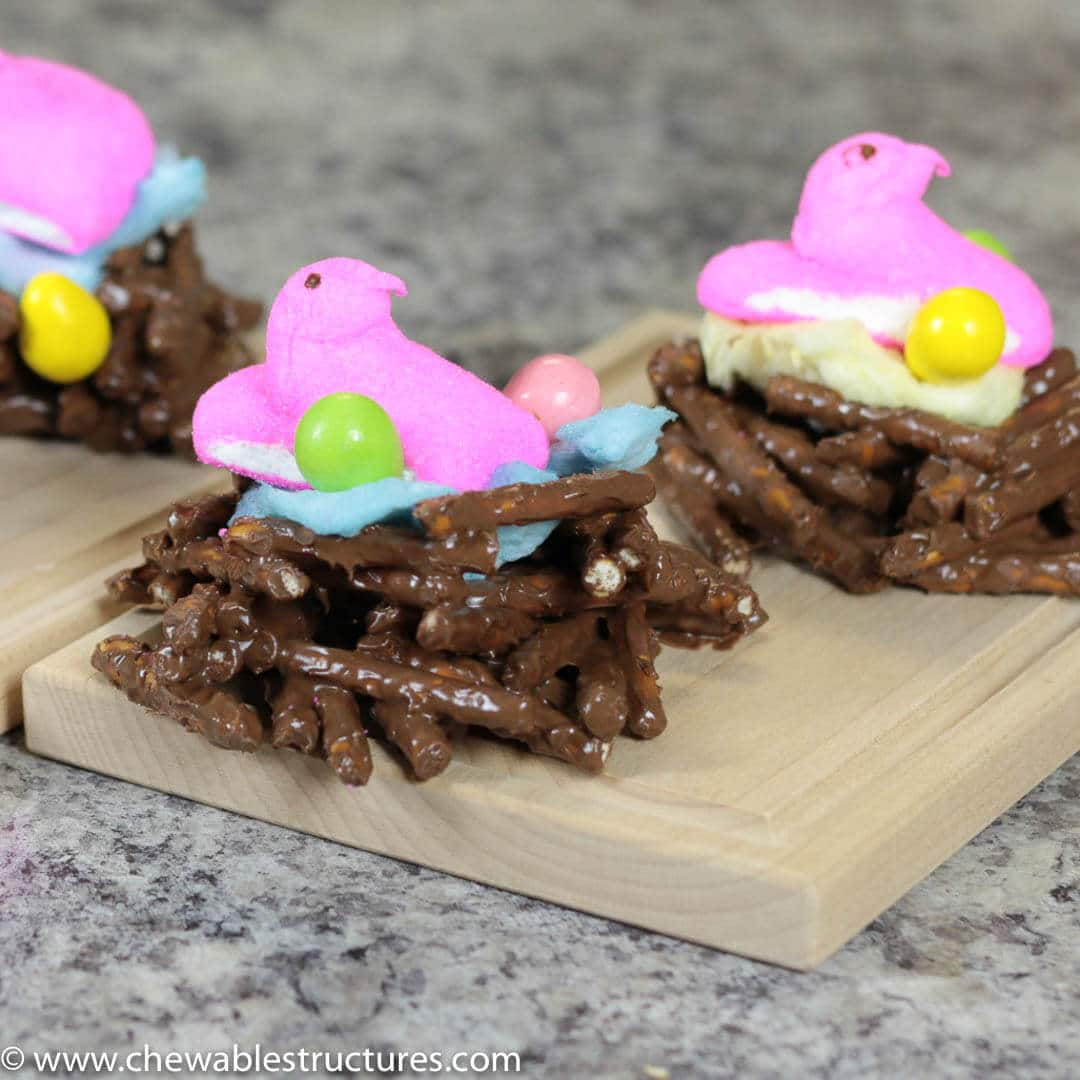 Chocolate covered pretzels shaped like a bird's nest. Topped with cotton candy and peeps.