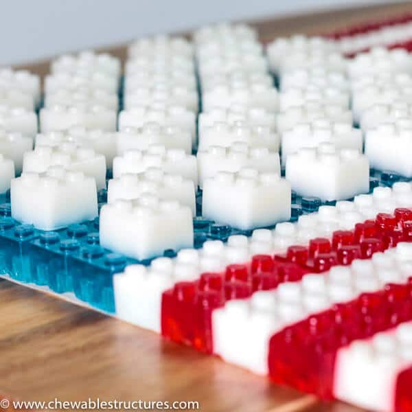 Edible american flag made of stackable LEGO JELLO.