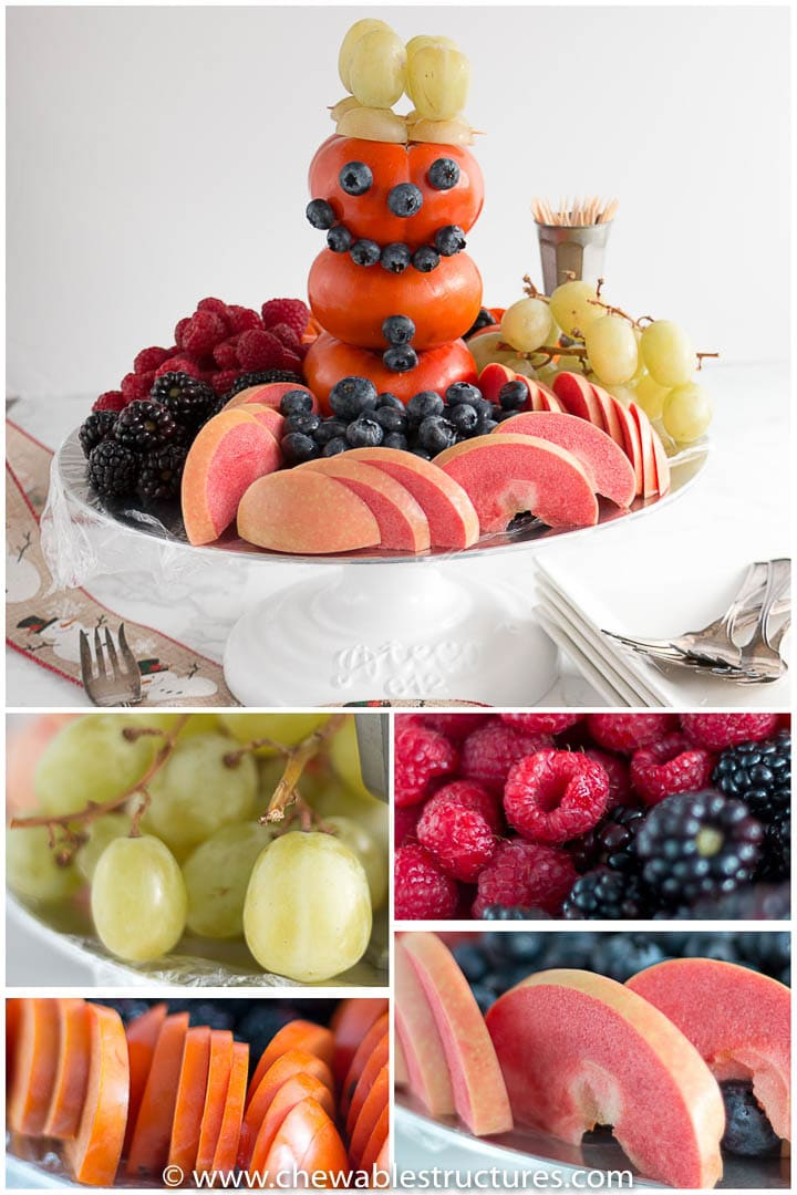 A baby shower fruit tray featuring an edible 3-D snowman made of Fuyu persimmon, blueberries, and green grapes. A collage with close ups of sliced persimmons, sliced red-flesh apples, raspberries, blackberries, and green grapes.